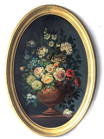 V. Dovich, Flowers in Copper Urn, oil on panel, signed, late 19th/early 20th century