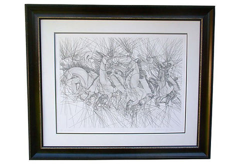"Guillaume Azoulay (Moroccan, b. 1949), ""Embuscade"", etching, signed and numbered"