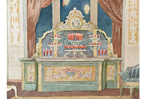 Attributed to Daniel MacMorris (American, 1893-1982), Architectural NY Hotel Interior, watercolor on paper