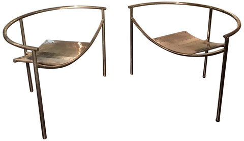 "Pair of ""Doctor Sonderbar"" Chrome-Plated and Steel Armchairs, designed by Philippe Starck in 1983, manufactured by XO, France"