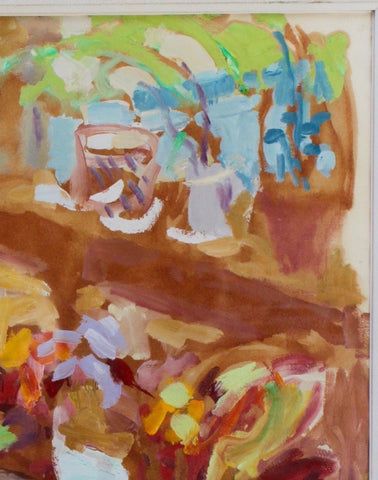 "Nell Blair Walden Blaine (American, 1922-1996), ""Still Life With Blue Pitcher"", 1957, oil on paper, signed and dated"