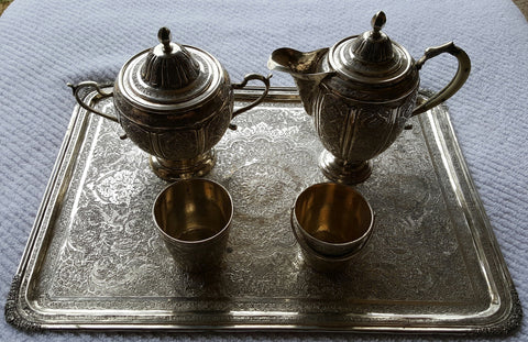 Persian Silver Partial Tea Service, 20th century
