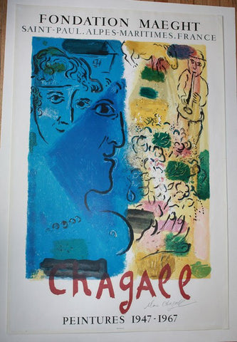 Charles Sorlier after Marc Chagall, Exhibition poster (Fondation Maeght), lithograph in colors, 1967 (see Mourlot 476)