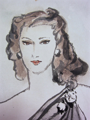 Eric (Carl Erickson) (American, 1891-1958), Fashion Illustration, Mrs. Andre Embiricos, gouache and ink on paper, signed