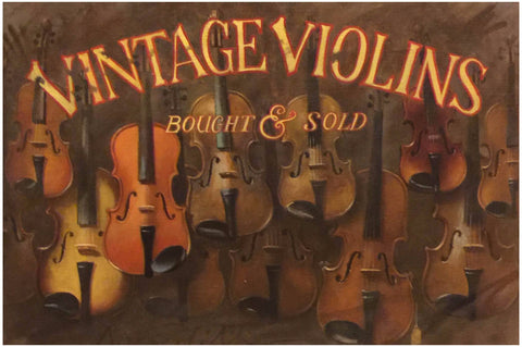 "Robert Meredith (American, b. 1940), ""Vintage Violins Bought & Sold"", oil on canvas, trompe l'oeil continuing into the painted wood frame, signed"