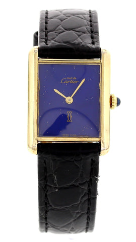 Vintage Ladies Must de Cartier Tank Argent Lapis Dial Watch 030175