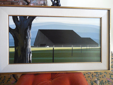 "Eyvind Earle (American, 1916-2000), ""Barn and Oak"", oil on canvas, 1969, signed"