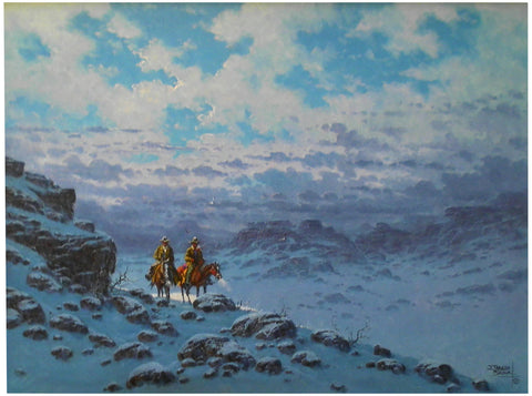 "Jorge Tarallo (J.T. Braun) (American, b. 1951), ""Riders in a Winter Landscape"", oil on canvas, signed"