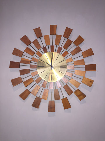 "Mid-Century Brass & Teak Wall-Mounted Clock, ""Grandeur"" model, Seth Thomas, American, 1960s"
