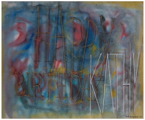 Jimmy Ernst (American/German, 1920-1984), Untitled (Happy Birthday Kathy), mixed media on paper, 1957, signed