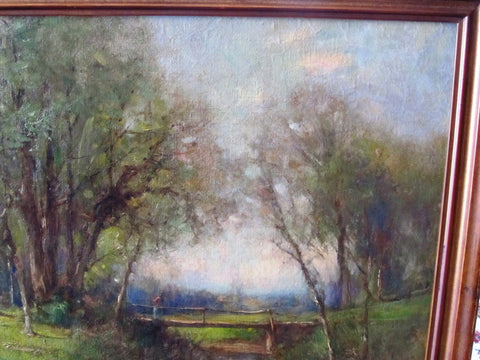 George Henry Smillie (American, 1840-1921), Landscape, Bronxville, New York, 1915, oil on canvas on masonite, signed and dated