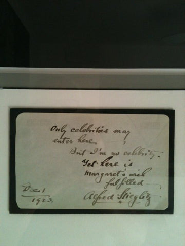 Autographed Note Signed by Alfred Stieglitz, 1923, framed with a photograph