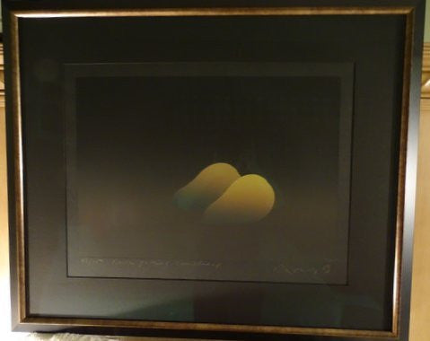 "Kozo Inoue (Japanese, b. 1937), ""Deux Poires Couchees"" (Two Pears on Their Sides), 1993, screenprint on black paper, signed, ed. 50"