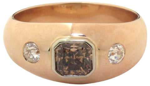 Men's 14K Rose Gold, Diamond and Fancy Dark Brown Diamond Ring, Contemporary, GIA Certified