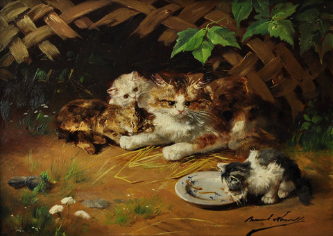 Alfred-Arthur Brunel de Neuville (French, active 1879-1907), Country Kittens, oil on panel, signed