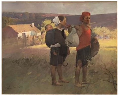 Mian Situ (Chinese, born 1953), Untitled (Young family traveling), oil on canvas, signed