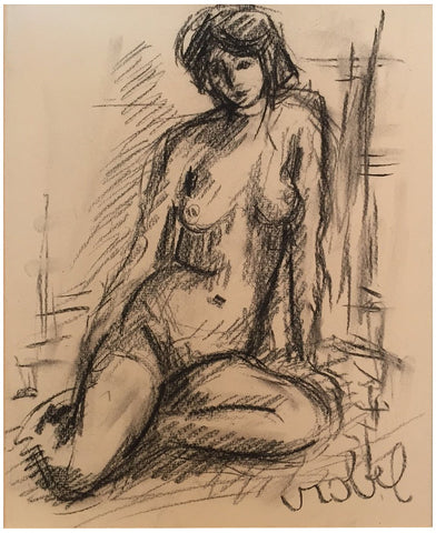 Bela Czobel (Hungarian, 1883-1974), Seated Nude, charcoal on paper, signed