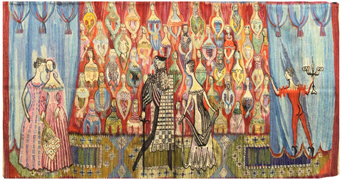 "Stefan Galkowski (Polish, 1912-1984) and Helena Galkowska (Polish, 1911–1992), Poland, Cracow, ""Teatr"", ca. 1950s, linen and wool tapestry"