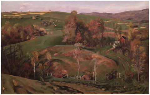 "Joellyn Duesberry (American, b. 1944), ""May Hills, Millbrook (above the house)"", 1987, oil on canvas, signed and dated"