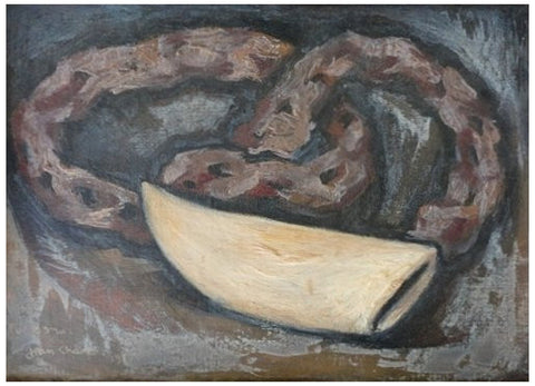 "Jean Charlot (French, 1898-1979), Snake and Fijian ""Tabua"", 1965, oil on board, signed and dated"