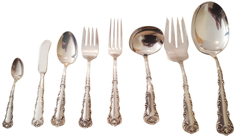 American Silver Part Flatware Service, Frank M. Whiting Co., North Attleboro, Ma., ca. 1895, in the King's Court pattern, together with Seven Silver Spoons, Whiting Mfg. Co., ca. 1900