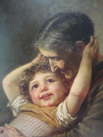 Paul Hermann Wagner (German, 1852-1937), A tender embrace, ca. 1880s, oil on canvas, signed