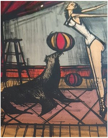 "Bernard Buffet (French, 1928-1999), ""Acrobat with Seal"", ca. 1968, lithograph in colors, signed"