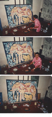 I Wayan Pendet (Indonesian/Bali, 1936-1998), Elephant, 1986, oil on three canvas panels, signed