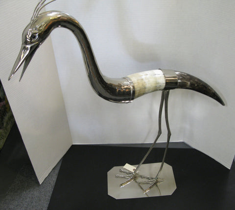 Pair of Silverplate and Horn Sculptures of Birds, ca. 1970