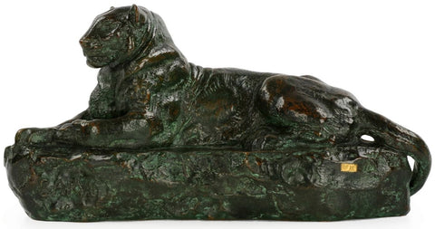 "Antoine-Louis Barye (French, 1796-1875), ""Panthére de l'India no. 1"", bronze, signed"