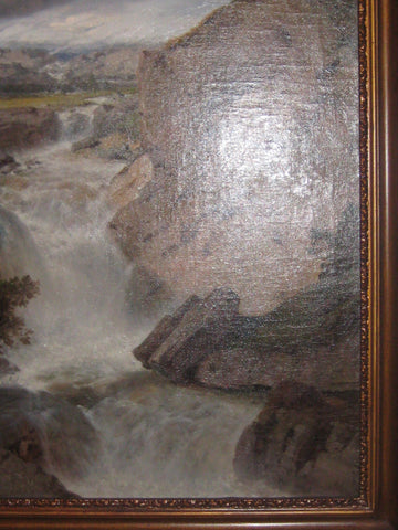 Albert August Zimmermann (German, 1808-1888), A waterfall in the Alps, oil on canvas, signed