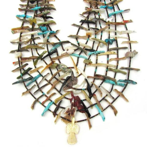 Zuni Seven Strand Carved Stone Bird and Bear Fetish Necklace, George Cheechee (1930­-1983), ca. 1970