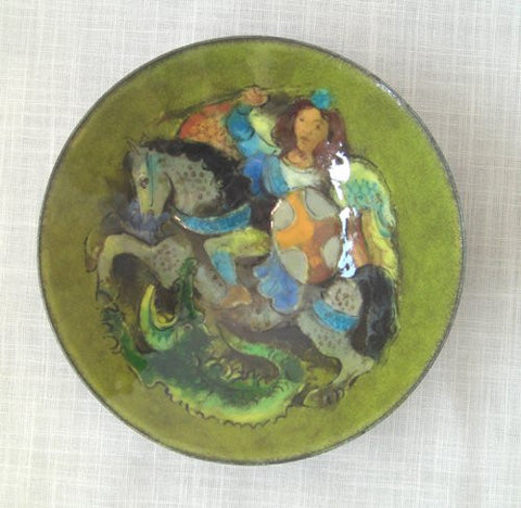 Karl Drerup (American/German, 1904-2000), St. George on Horseback Bowl, enamel on steel