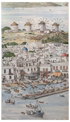 Liudmila Kondakova (Russian, b. 1956), Mykonos Windmills, 2004, watercolor and ink on paper, signed and dated