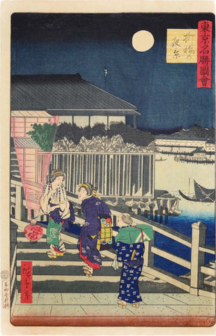 Andō Hiroshige (Japanese, 1797-1858), Yanagibashi at Night, 1869, woodblock print, signed