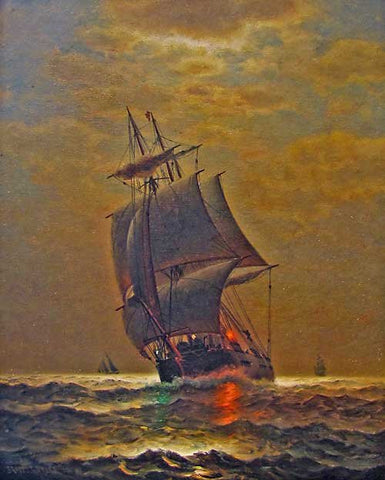 "James Gale Tyler (American, 1855-1931), ""The Port Light"", oil on canvas, signed"