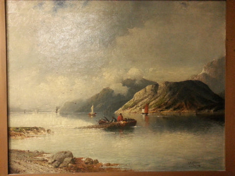 J. Rollin (19th Century), Alpine Lakes, a pair of oils on canvas, signed