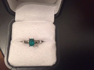 18K White Gold, Emerald and Diamond Ring, contemporary