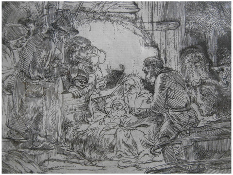 Rembrandt van Rijn (Dutch, 1606-1669), The Adoration of the Shepherds with the Lamp, etching