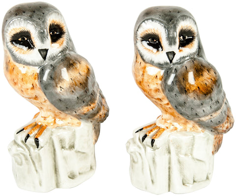 Two Italian Glazed Ceramic Owls, ca. 1930s