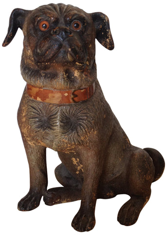 Austrian Cold Painted Terracotta Seated Pug with Glass Eyes, ca. late 19th century