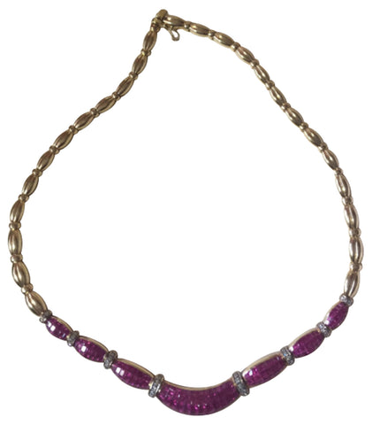 14K Yellow Gold, Ruby and Diamond Necklace, contemporary