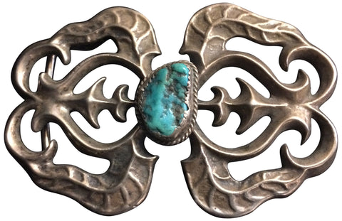 Navajo Sandcast Silver and Turquoise Belt Buckle, ca. 1950s
