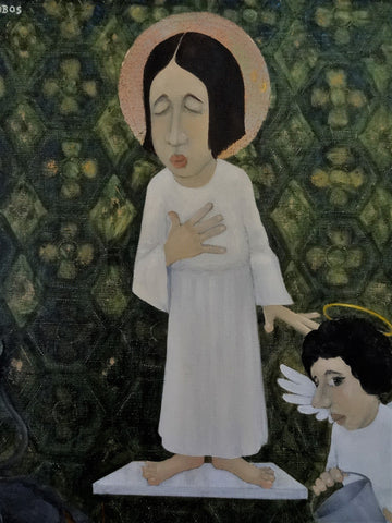 "Eugene Dobos (American, b. 1933), ""Saint Joan"" (Joan of Arc), oil on canvas, signed"
