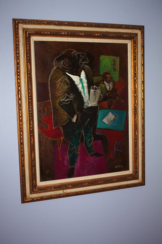"William Gropper, (American, 1897-1977), ""Investigator "", oil on board, signed"