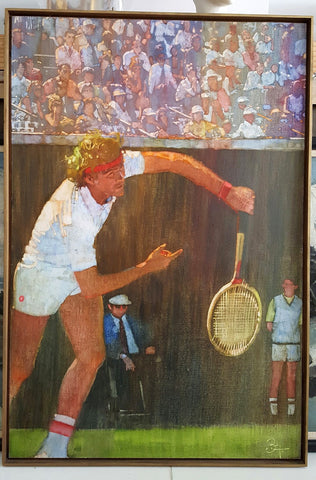 Bernard (Bernie) Fuchs (American, 1932-2009), Tennis Player, Jimmy Connors, ca. 1980, oil on canvas, signed