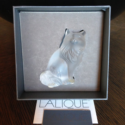 "Lalique ""Heggie Cat"" Frosted Glass Figurine, French, 20th/21st century, signed"