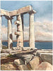 Artist unknown, The Temple of Neptune, watercolor on paper