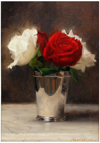 Jacob Collins (American, b. 1964), Red and White Roses in a Silver Cup, 2014, oil on canvas, signed
