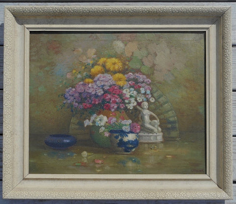 "Charles A. Meurer (American, 1865-1955), ""Phlox"", oil on canvas, signed"